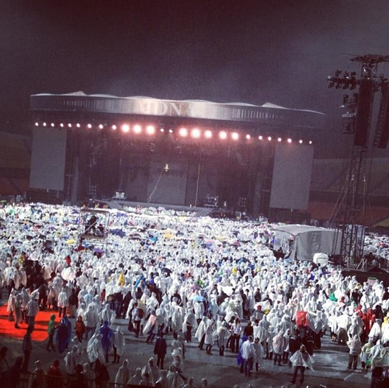 The crowd in the rain  MDNA Tour Medellin Show #2   Estadio Atanasio Girardot – Photo credit Selena Castro