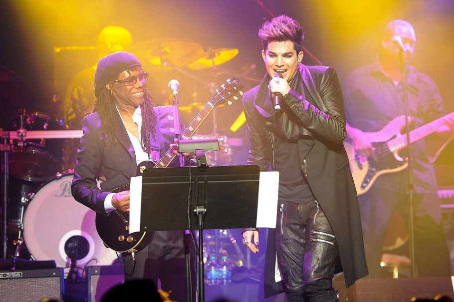 "#GuitarPorn – Me & Adam Lambert doing ""Trespassing"" on one of my @GibsonGuitarNYC Les Pauls – Photo by Shahar… ~ Nile Rodgers"