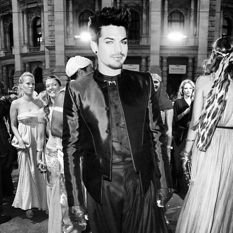Red Carpet in jacket by Mugler, pants by Les Hommes ~ Adam Lambert