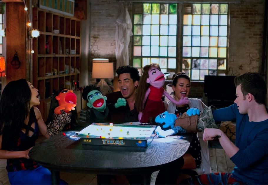 Santana, Elliot, Rachel, and Kurt with their puppets