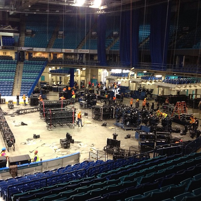 Load in well underway here at the Credit Union Centre ~ officialqueenmusic - Instagram