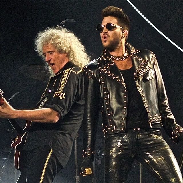 @queenwillrock. THANK YOU #VERSACE for this amazing leather, studded Biker Jacket! ~ Adam Lambert Instagram
