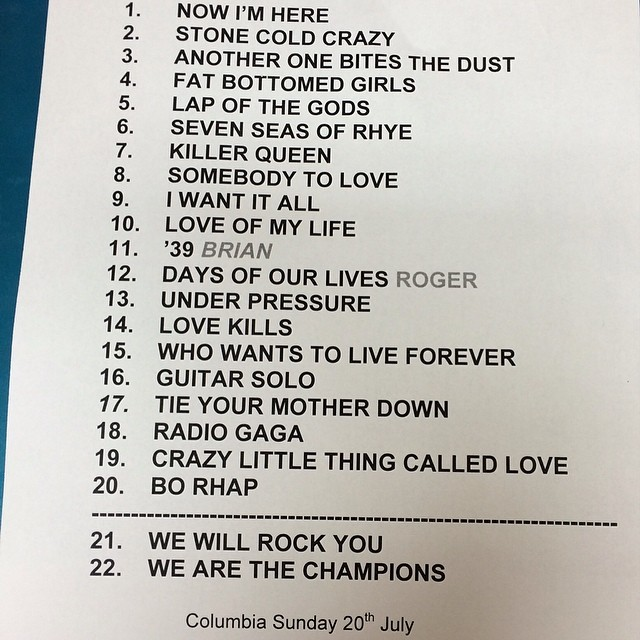 Set List - Photo credit officialqueenmusic Instagram