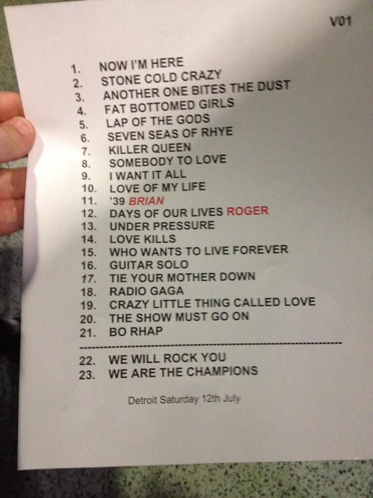 Set List - Photo credit @ThatsSoAbbyBlog